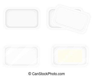 white plastic container packaging for food vector illustration
