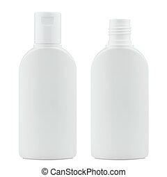 white plastic cosmetics bottles