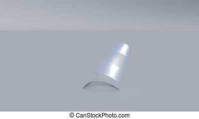 White Plastic cup falls Environment plastic pollution 4k