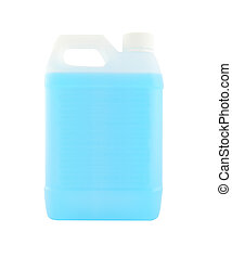 White plastic gallon with blue liquid on white background.
