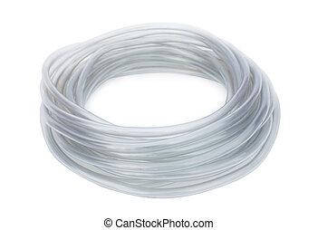 white plastic hose isolated on white background