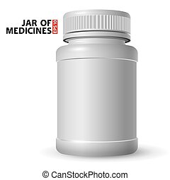 White plastic jar for medicines with a closed lid. Volumetric and real look. Side view.