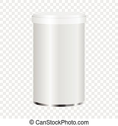 White plastic jar mockup, realistic style