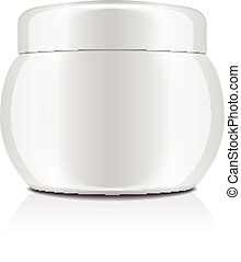 White plastic jar with cap for cosmetics. Closed container. Vector mockup template