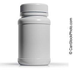 White plastic medical bottle