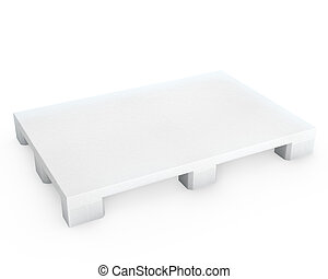 White plastic pallet, isolated on white background
