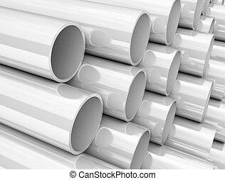 white plastic pvc tubes