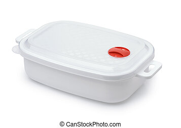 White plastic  reusable food storage container isolated on white