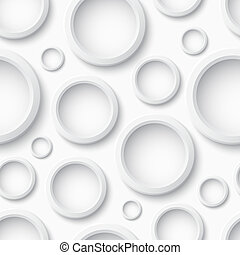 White plastic seamless pattern with circles