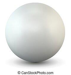 White Plastic Sphere on White Background