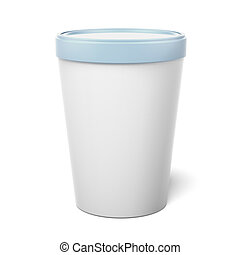 White Plastic Tub Bucket Container isolated on a white...