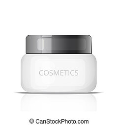 White plastic tube or jar with round cap. Vector realistic packaging mock up template. Front view for your design.