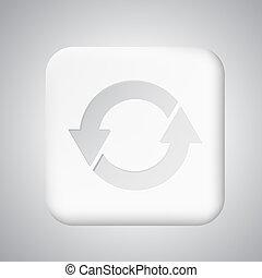 White plastic update button for app