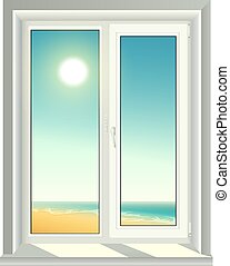 White plastic window and blue sky