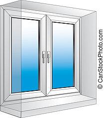 white plastic window