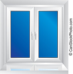 white plastic window with a sloping