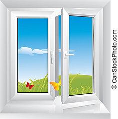 white plastic window - morning freshness in a glass plastic...