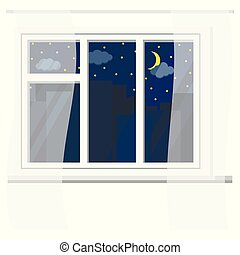 White plastic window with curtains, urban night view with sky, stars, clouds, crescent, silhouettes of city buildings.