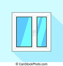 White plastic window with glass icon, flat style