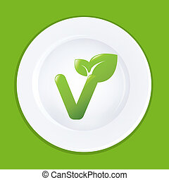 White Plate And Sign On Vegan, Vector Illustration
