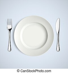 White plate, fork and knife.