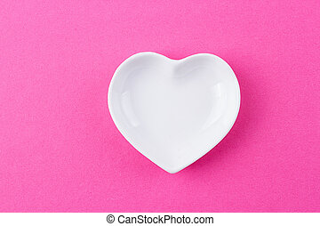 White plate in the shape of heart