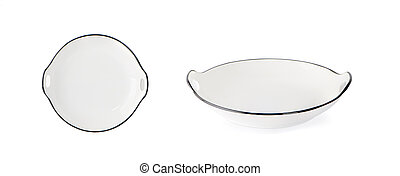 white plate isolated on white background. Top view