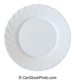 white plate isolated on white with clipping path