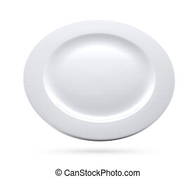 white plate isolated with clipping path