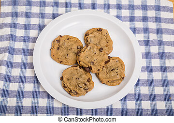 White Plate of Chocolate Chip Cookies