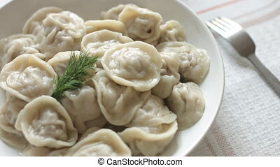 White plate of hot homemade dumplings