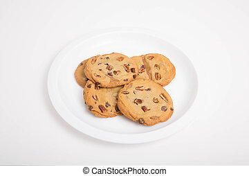 White Plate of Pecan Cookies