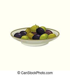 White plate of pickled black and green olives vector Illustration