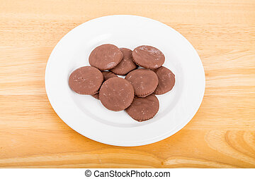 White Plate of Thin Chocolate Cookies