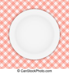 White Plate on a Checkered Tablecloth Vector Illustration