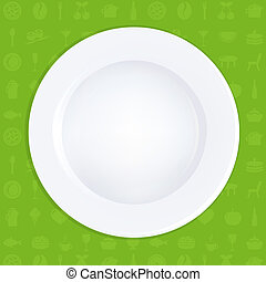 White Plate On Green Background