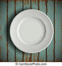 white plate on old wooden table