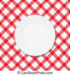 White plate on red and white checked tablecloth background