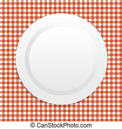 white plate on red tablecloth