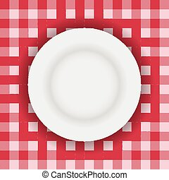 White plate on table cloth