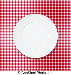 White plate on tablecloth - White plate on red tablecloth