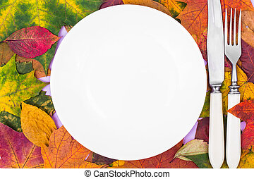 White plate on the background of autumn leaves for seasonal menu
