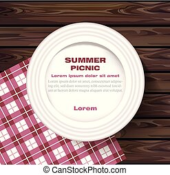 White plate on wooden table Summer picnic concept Vector