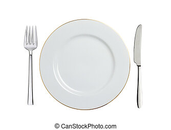 white plate, spoon and fork isolated on white
