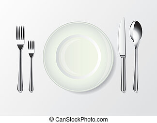 white plate, spoon, fork and knife photo realistic vector