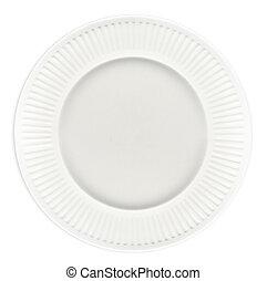 White Plate - White plate, taken over head.