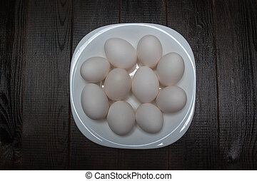 white plate with eggs
