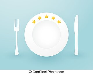 white plate with five stars