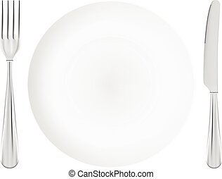 White Plate With Fork And Knife Crossed Isolated On A White Background.