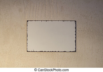 white plate with frame for text wall
